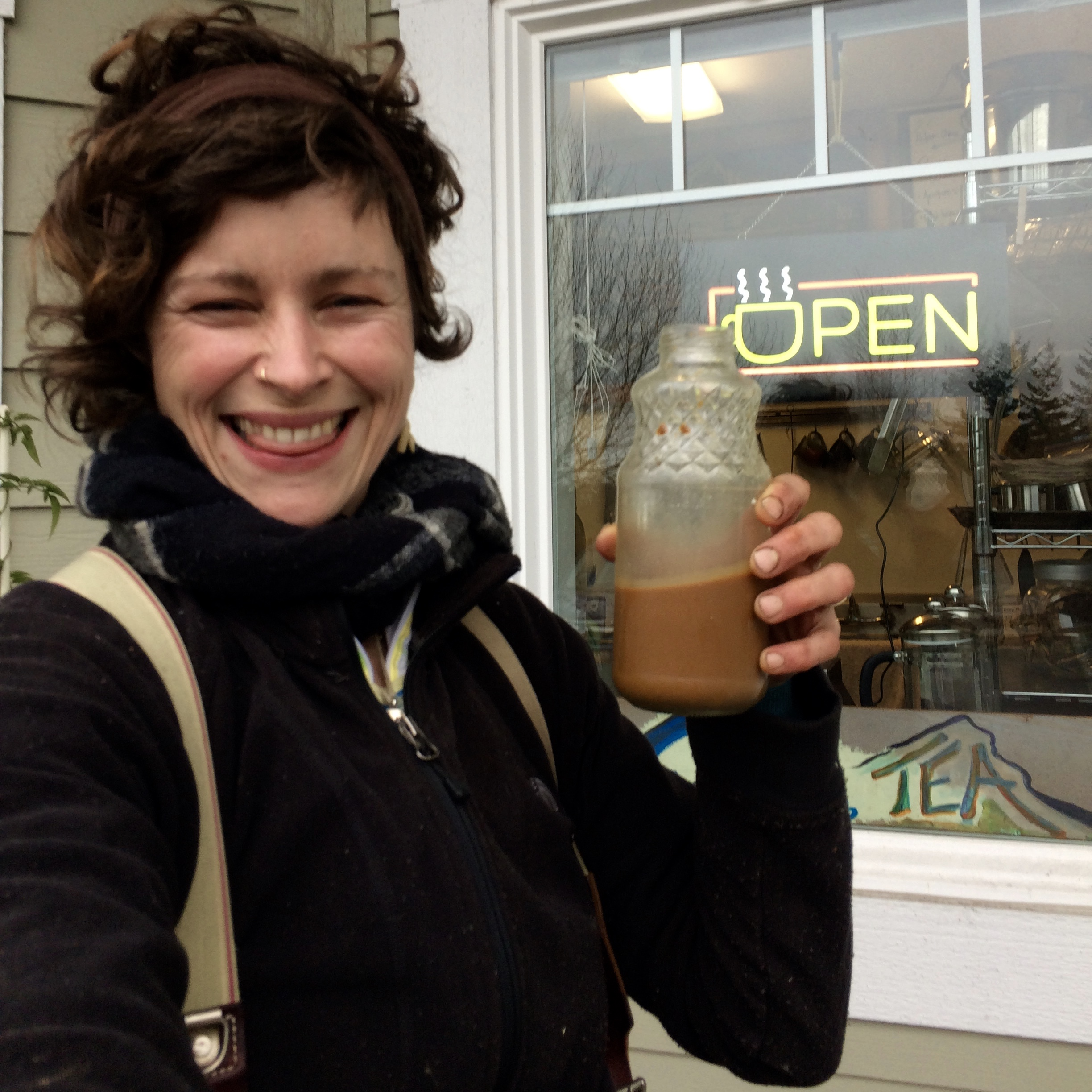 Shaelee the brew master enjoying the glorious Chaga-coldbrew before landscaping!