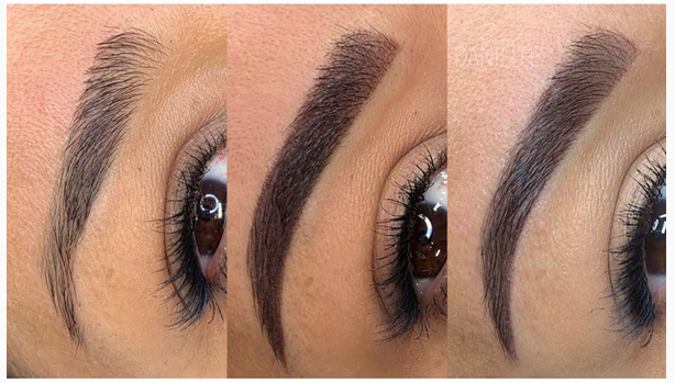 Eyebrows Before, Right after Ombre Powder Eyebrows and Healed.