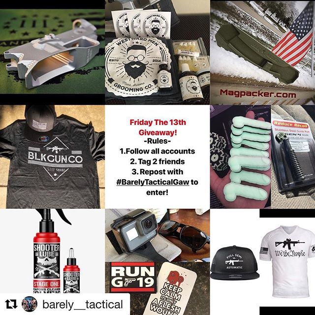 #Repost @barely__tactical with @get_repost ・・・ 🇺🇸Friday the 13th Giveaway!🇺🇸 • • • NO firearms or Instagram restricted items will be given away.  It's giveaway time. Read the rules carefully, you can ONLY ENTER ON THE @barely__tactical PAGE.  All the rules are listed below the prizes. I can't stress this enough, read them carefully if you want to win. We are doing two prize packages for this Gaw.  1st Prize -  A 80% AR15 lower (this is NOT a firearm or restricted item and does not require an FFL) from @iconic_industries_inc  A Solvent and Lube combo with Shirt from @shooterlube  A Grooming kit Deluxe and Shirt from  @westwardmengroomingco  A Magpacker Poly AR15 speed loader from @magpacker  A shirt and hat from @blkgunco  A shirt from @_savage_veteran_  A hat from @minutemenapparel  A SideKick Full Size GoPro mount from @sidekickmounts  A Gen 4 glock steel guide rod to reduce recoil and Glock back plate from @seize901  Mystery patch and vinyl stickers from @barely__tactical  2nd Prize -  A Run G19 patch from @pmu_llc  A beard oil sample pack and sticker from @westwardmengroomingco  Mystery patch and Vinyl sticker from @barely__tactical  How to enter -  Like this post, tag two friends only on @barely__tactical post to increase yoir chances of WINNING! and follow all the accounts listed below. I will check. Share this giveaway post with the hashtag #barelytacticalgaw .  18+ only, USA only. Two chances to win. Follow:  @barely__tactical  @iconic_industries_inc  @magpacker  @shooterlube  @westwardmengroomingco  @blkgunco  @minutemenapparel  @_savage_veteran_  @sidekickmounts  @pmu_llc  @seize901  Giveaway will end Monday May 30th