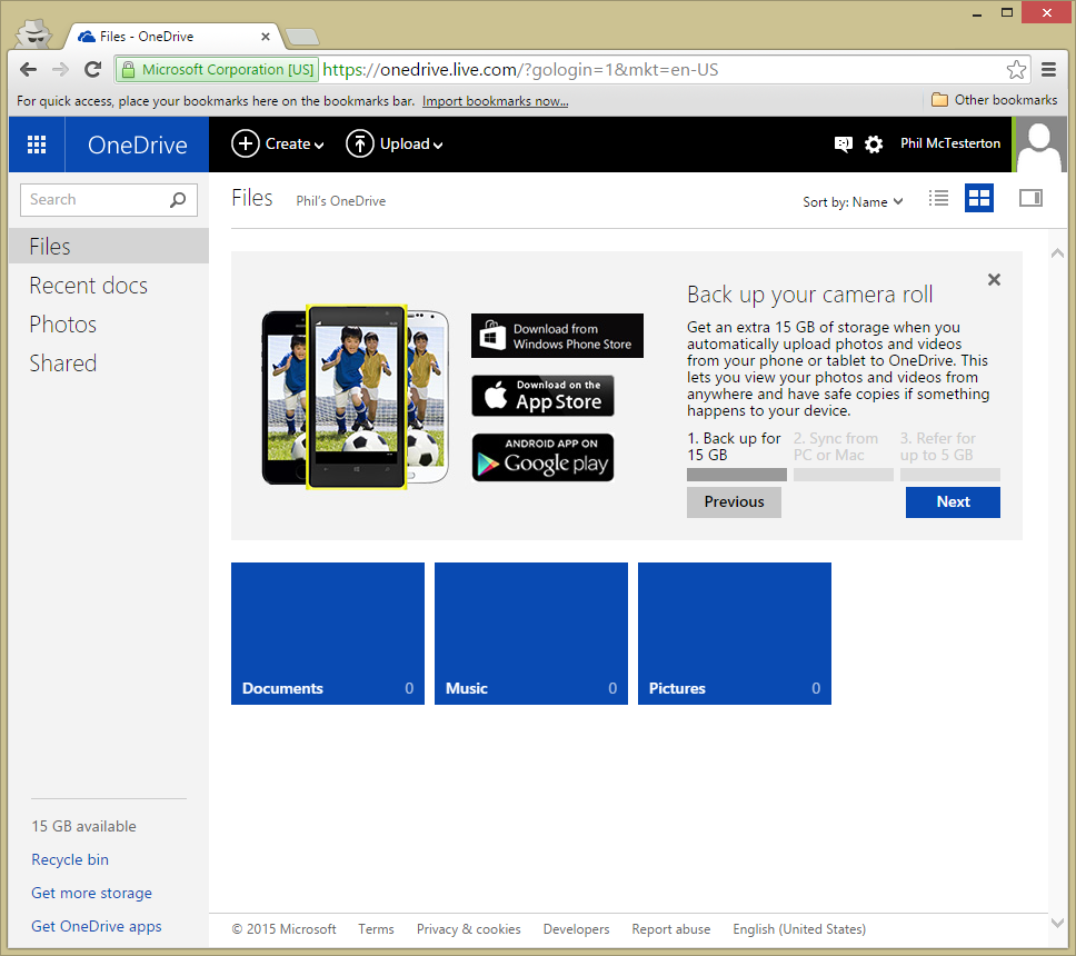 Click the download button for your mobile platform (Windows Phone, iOS, or Android).