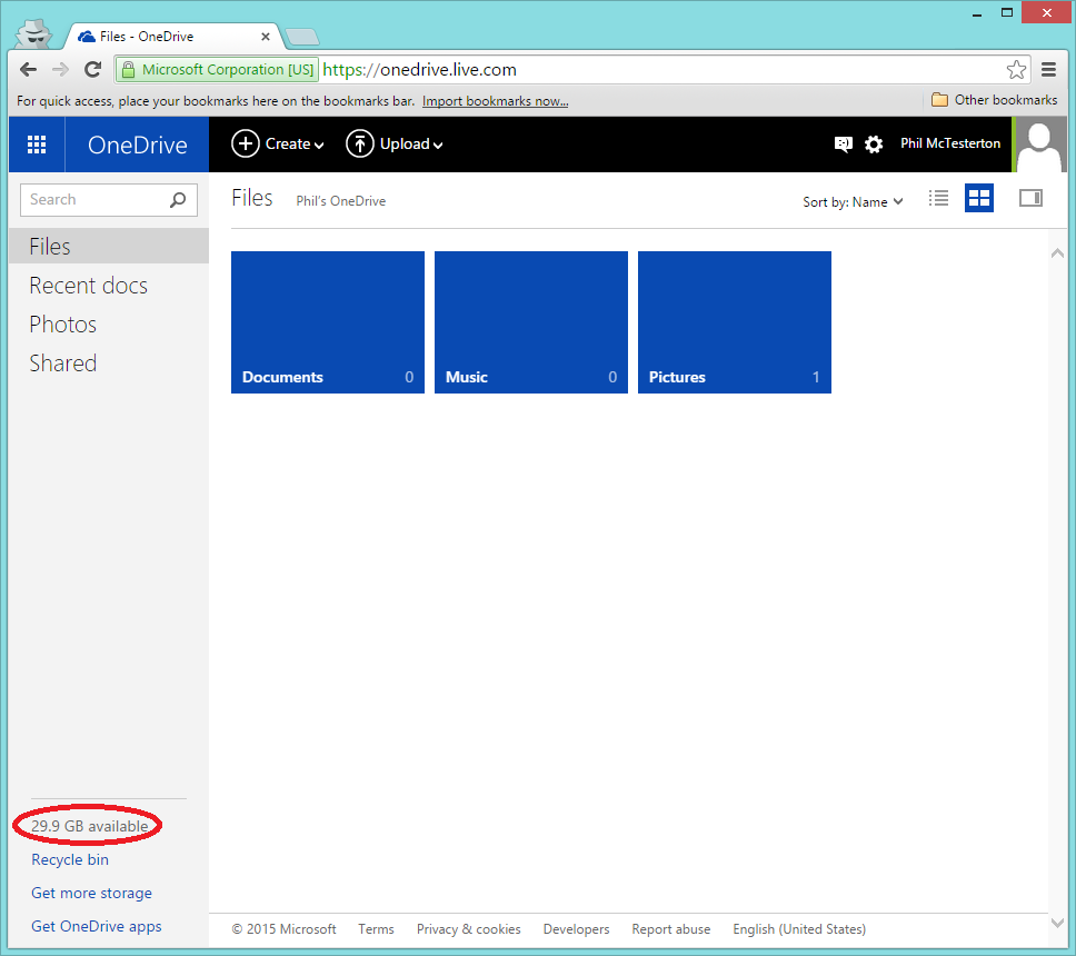 30GB of OneDrive cloud storage is now available.