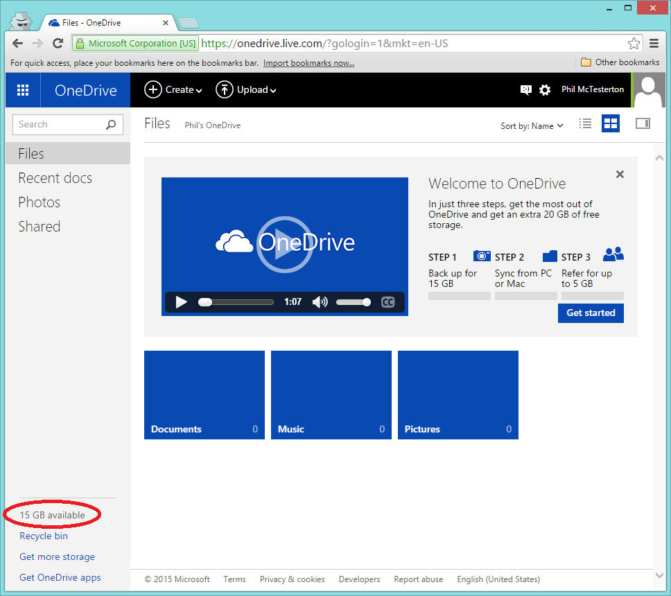 15GB of OneDrive cloud storage is currently available