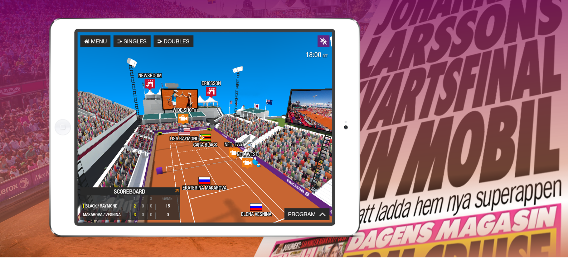 The official TV-streaming app for the women's tennis tournament in Båstad 2015