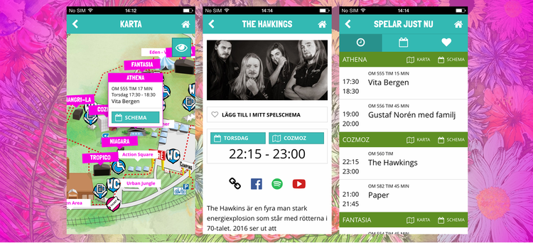 Peace & Love - CLIENT: Visit Dalarna ABDURATION: 3 monthsPLATFORMS: Win, Android, iOSTYPE: Festival application for public releaseFEATURES: Maps, schedules, information, social media links, and more.CASE: ONSITE used to developed the official app for the music festival Peace & Love in Borlänge, Sweden for 2016, 2017 and 2018. In the app you can select the game schedule from over 100 artists, see which scene they play and test through Spotify or Youtube. The app also shows who currently plays on a map of the area and you can also create your own game schedule. Learn more & download the app here.