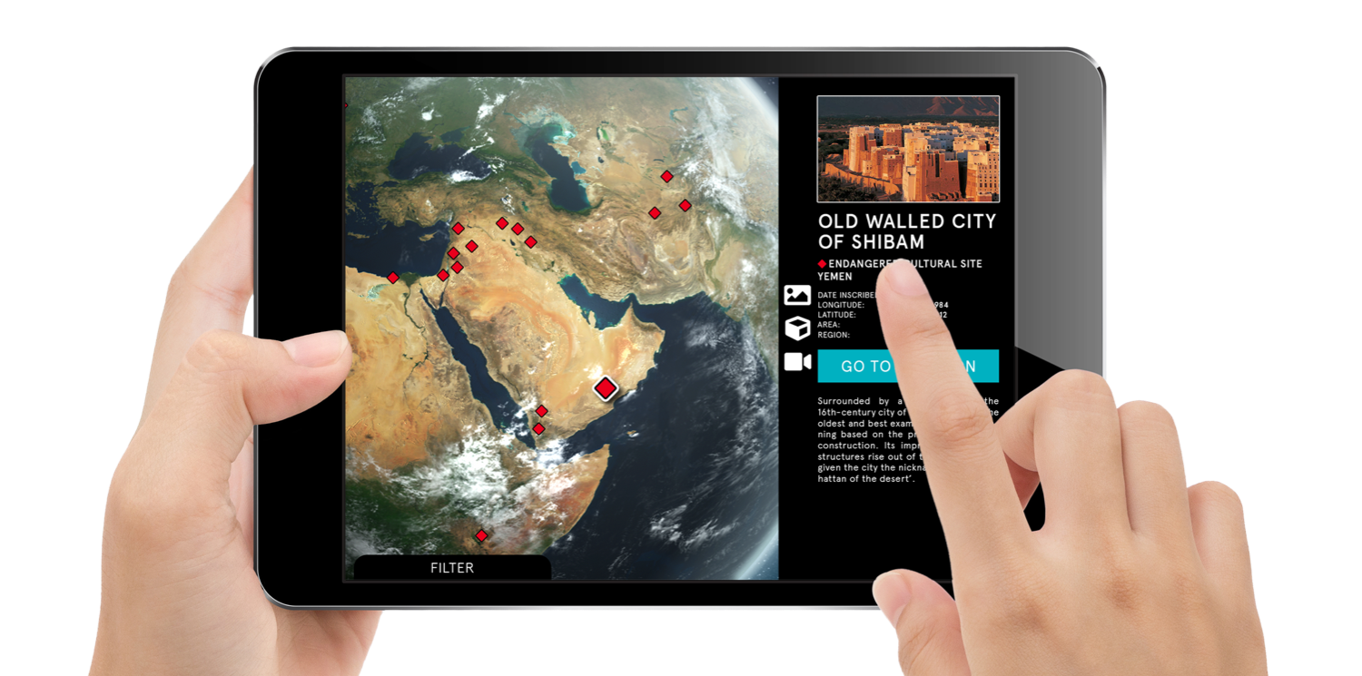 UNESCO On Site - CLIENT: UNESCOPARTNER: National GeographicDURATION: OngoingPLATFORMS: iOS, Android, Windows, WebTYPE: Interactive tourism for public releaseFEATURES: Gamified world heritage sites, heritage database, 3D Globe, 3D Reconstructions, maps, and more.