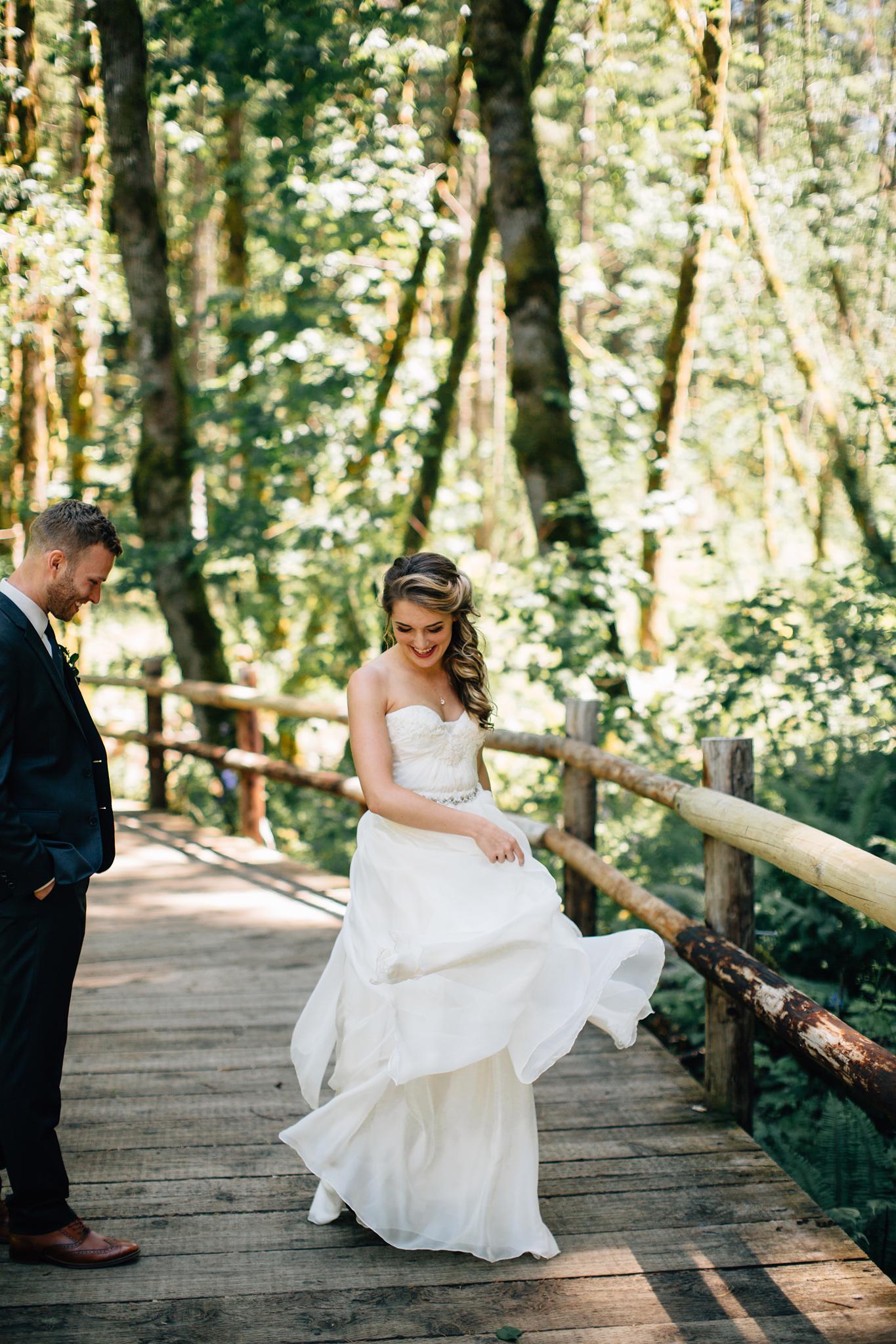 bride's wedding dress with floral belt