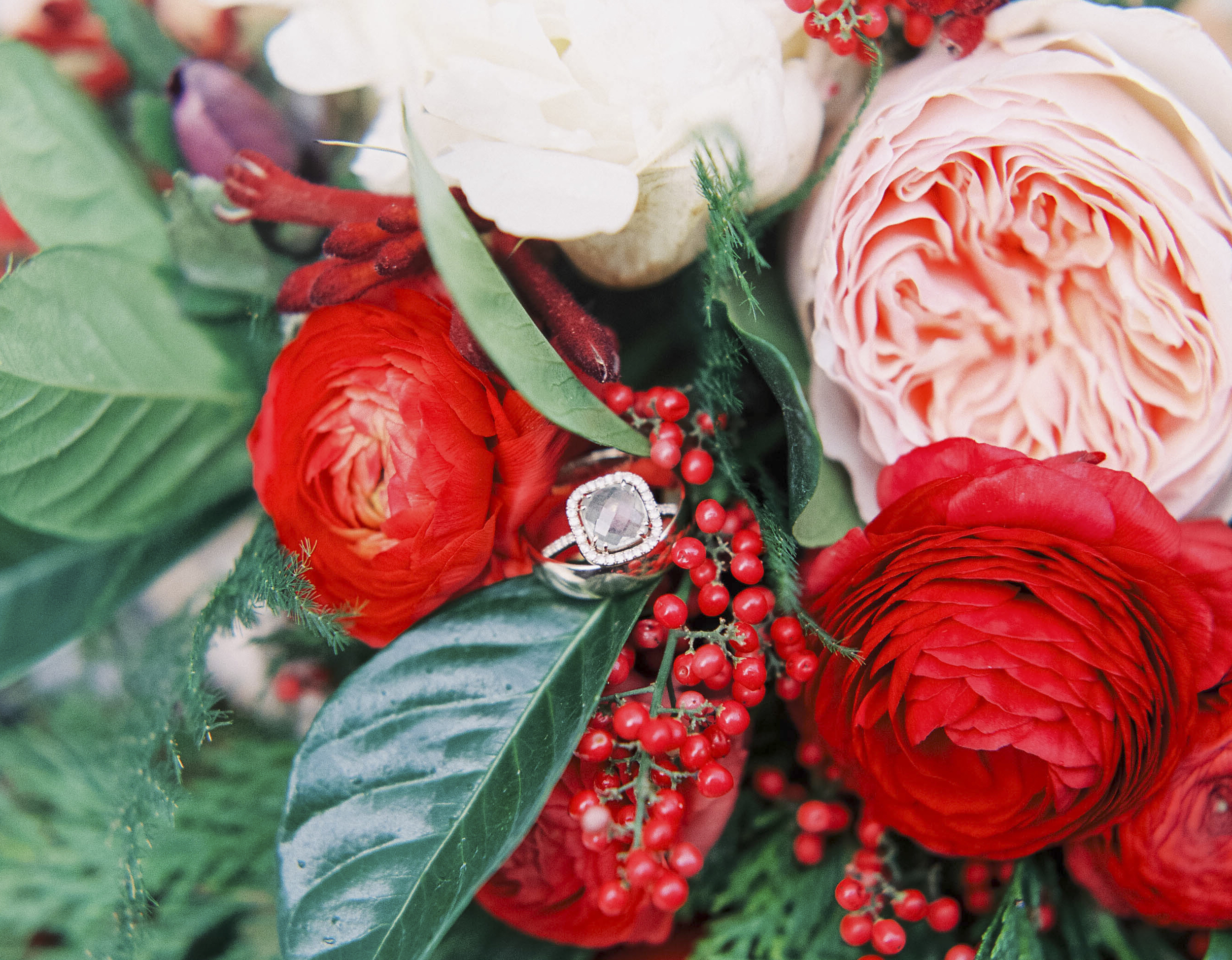 wedding ring in floral bouquet