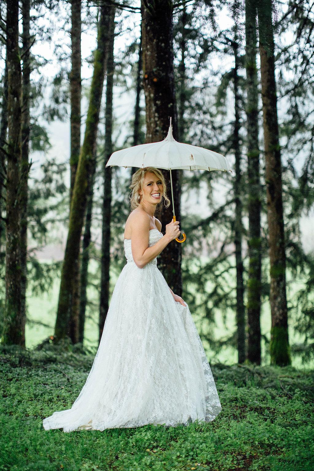 wedding dress in forest