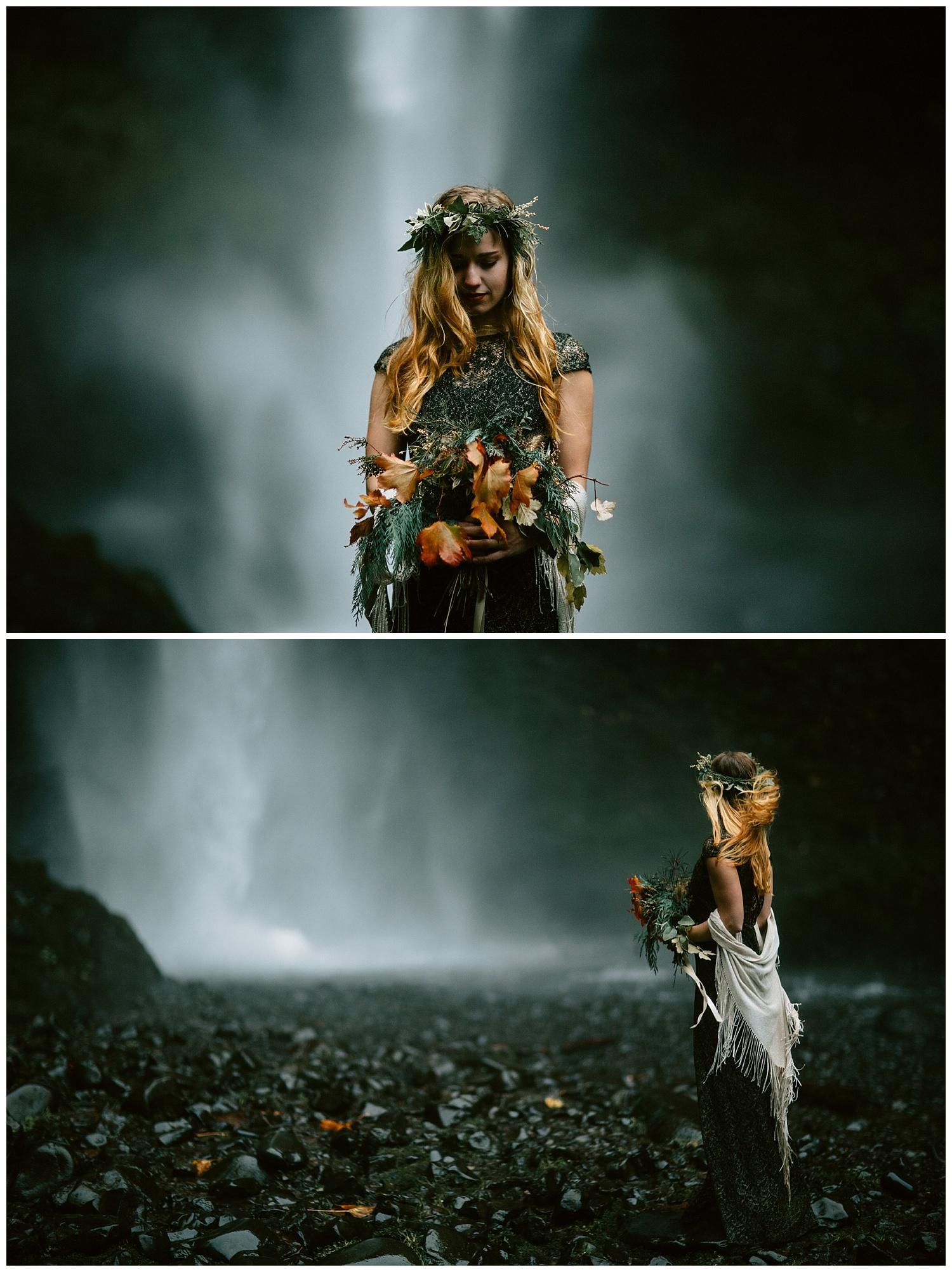 cascading bouquet in waterfall