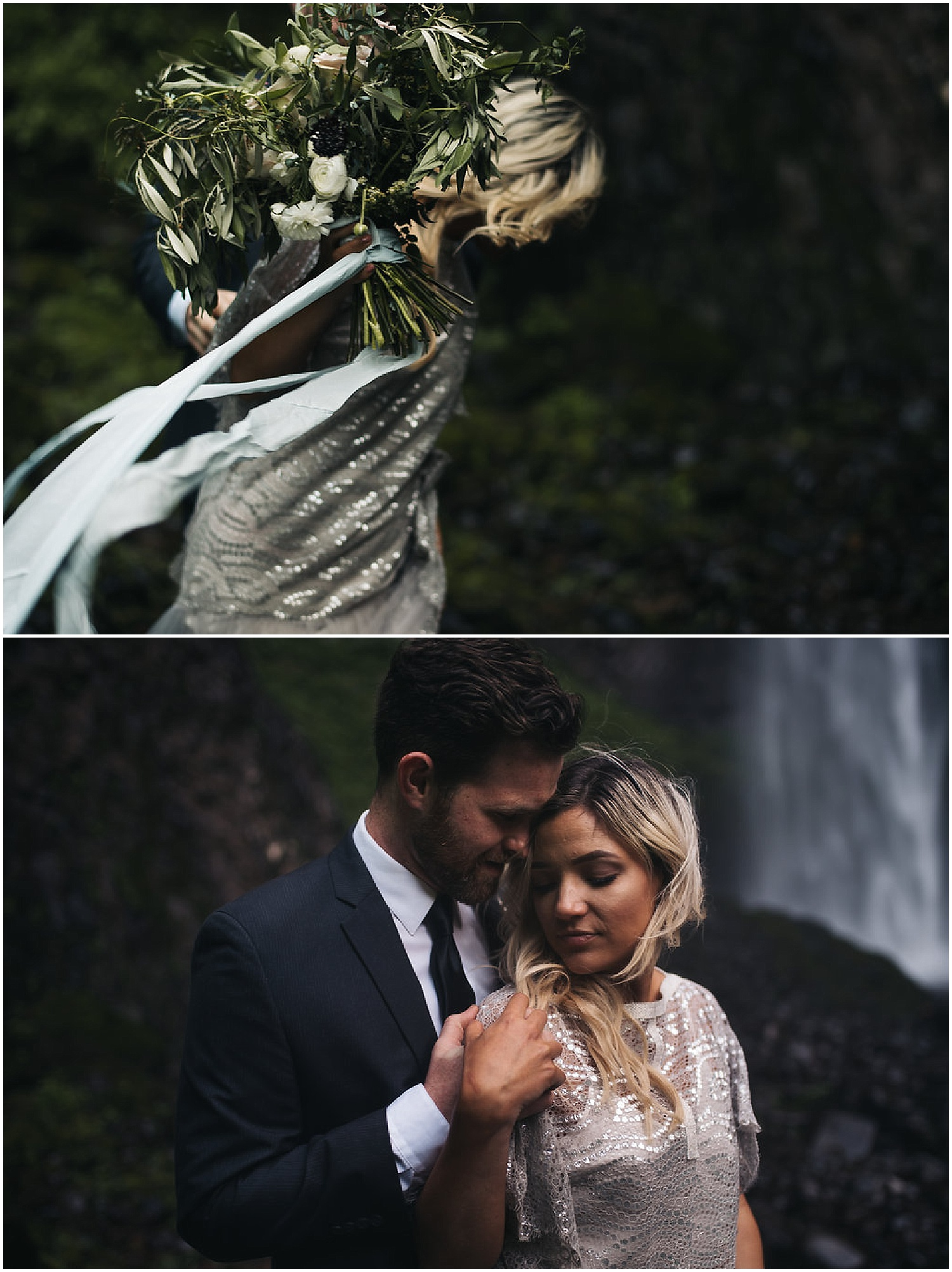 wind blown bridal bouquet