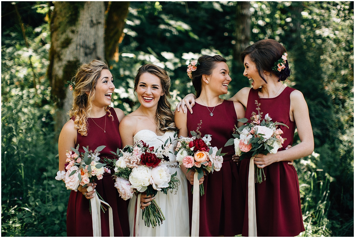 wedding flowers and bridal party