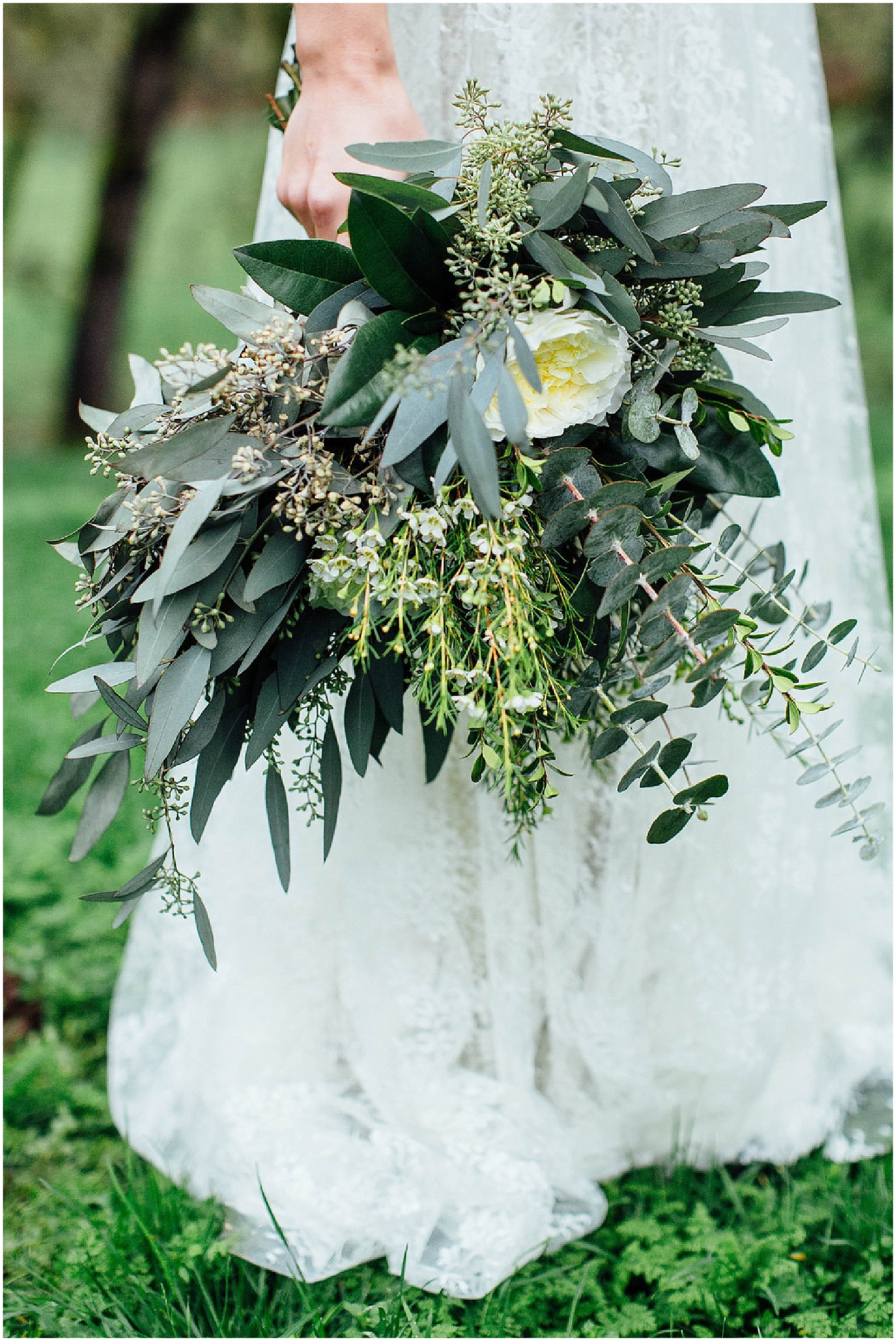 Good Seed Floral Design greenery and white wedding bouquet