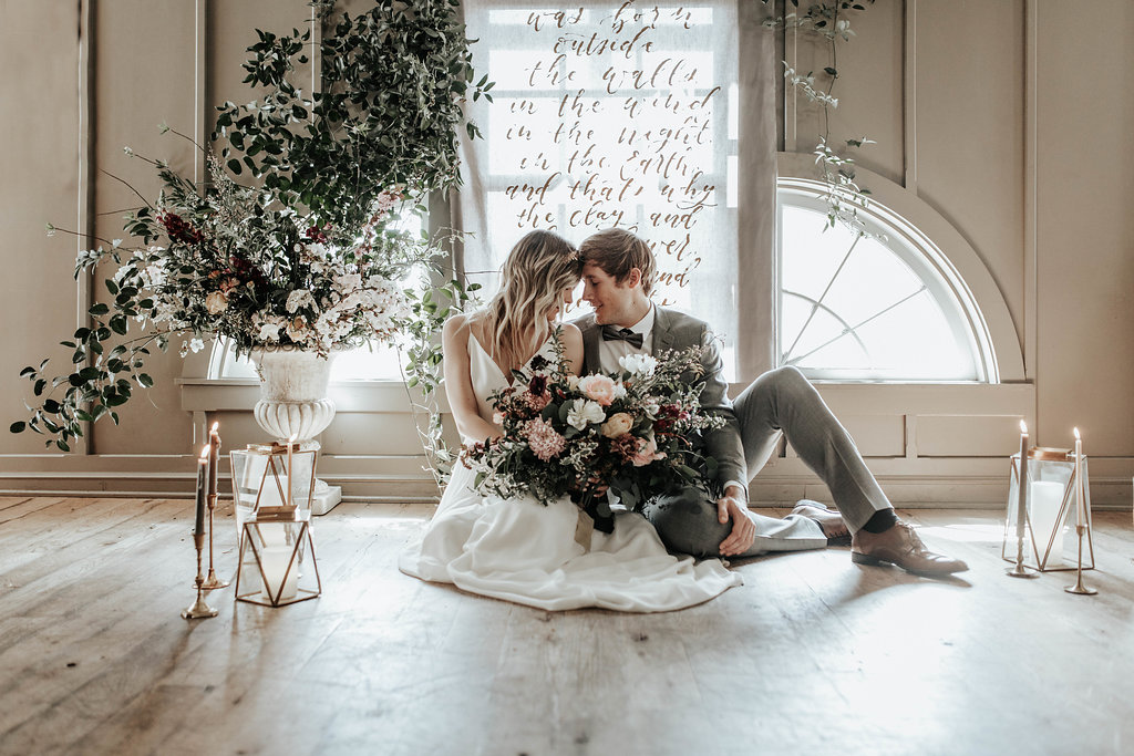 Floral installation for styled shoot