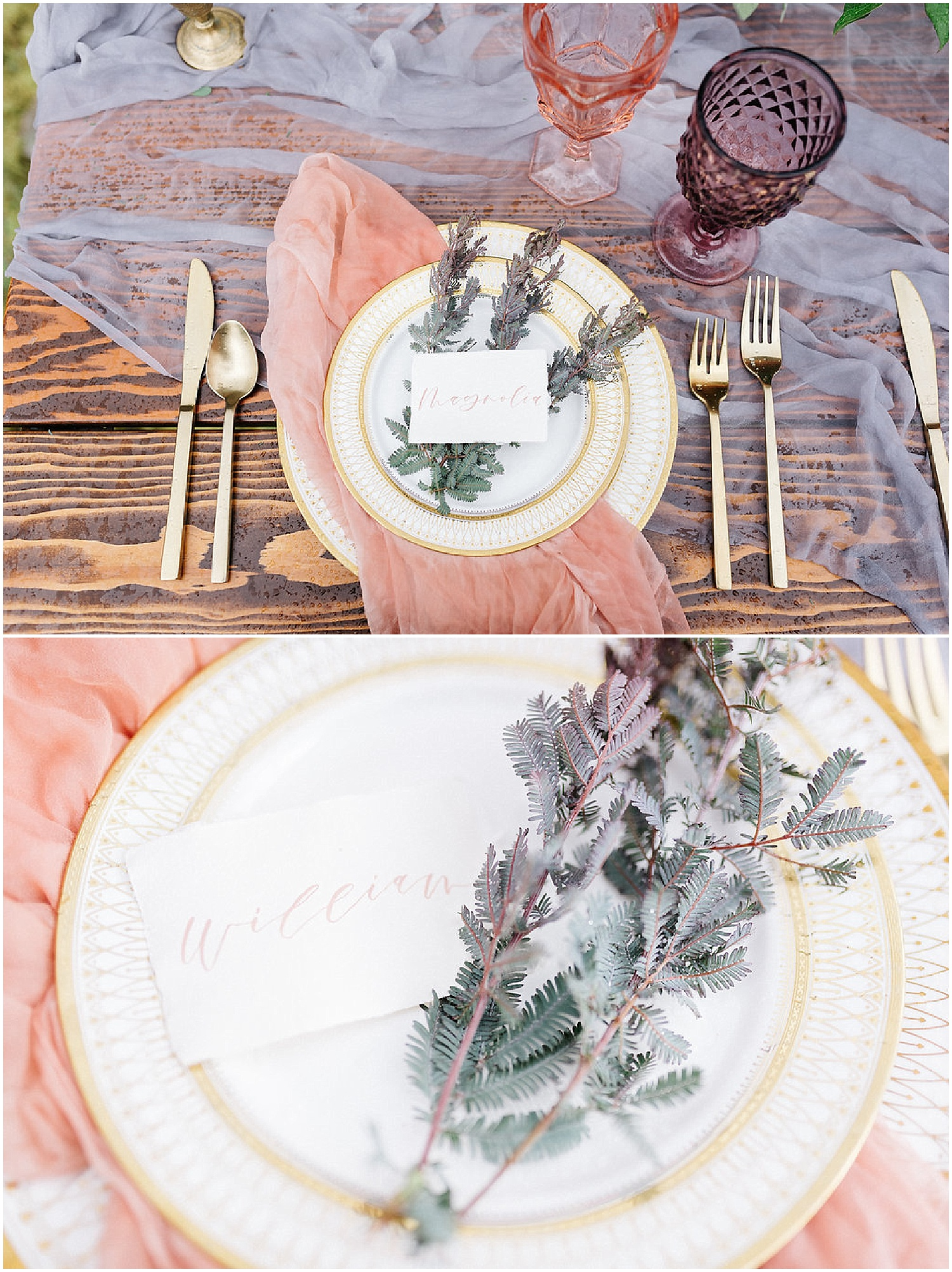 table setting with pink glasses and greenery