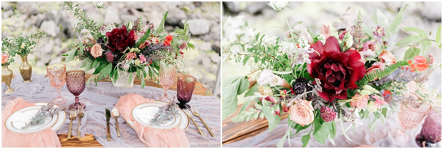 peonies in a centerpiece