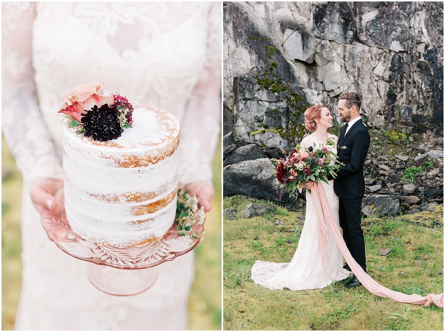 cake florals and lush bridal bouquet