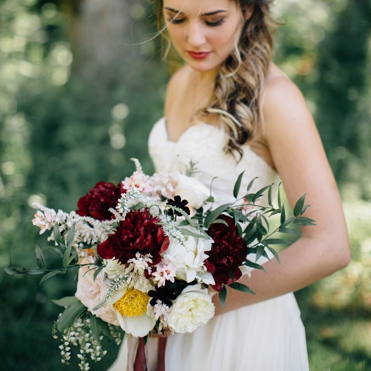 newlywed bride with bouquet