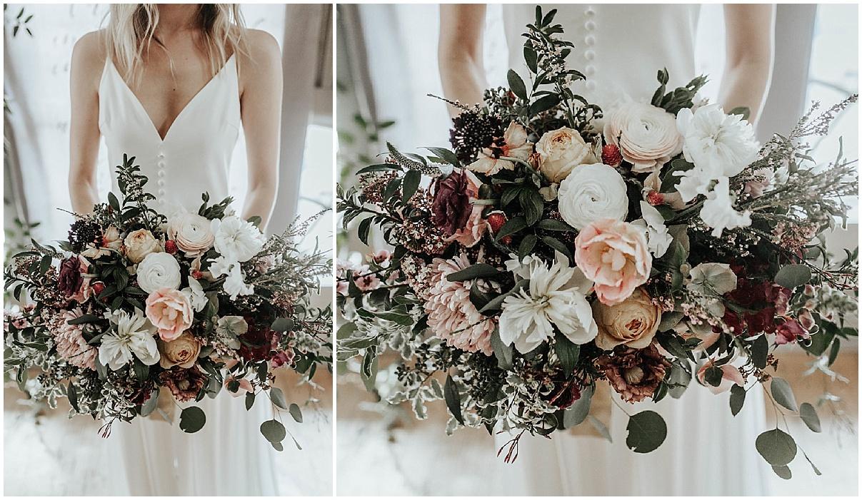 bride showing her bouquet