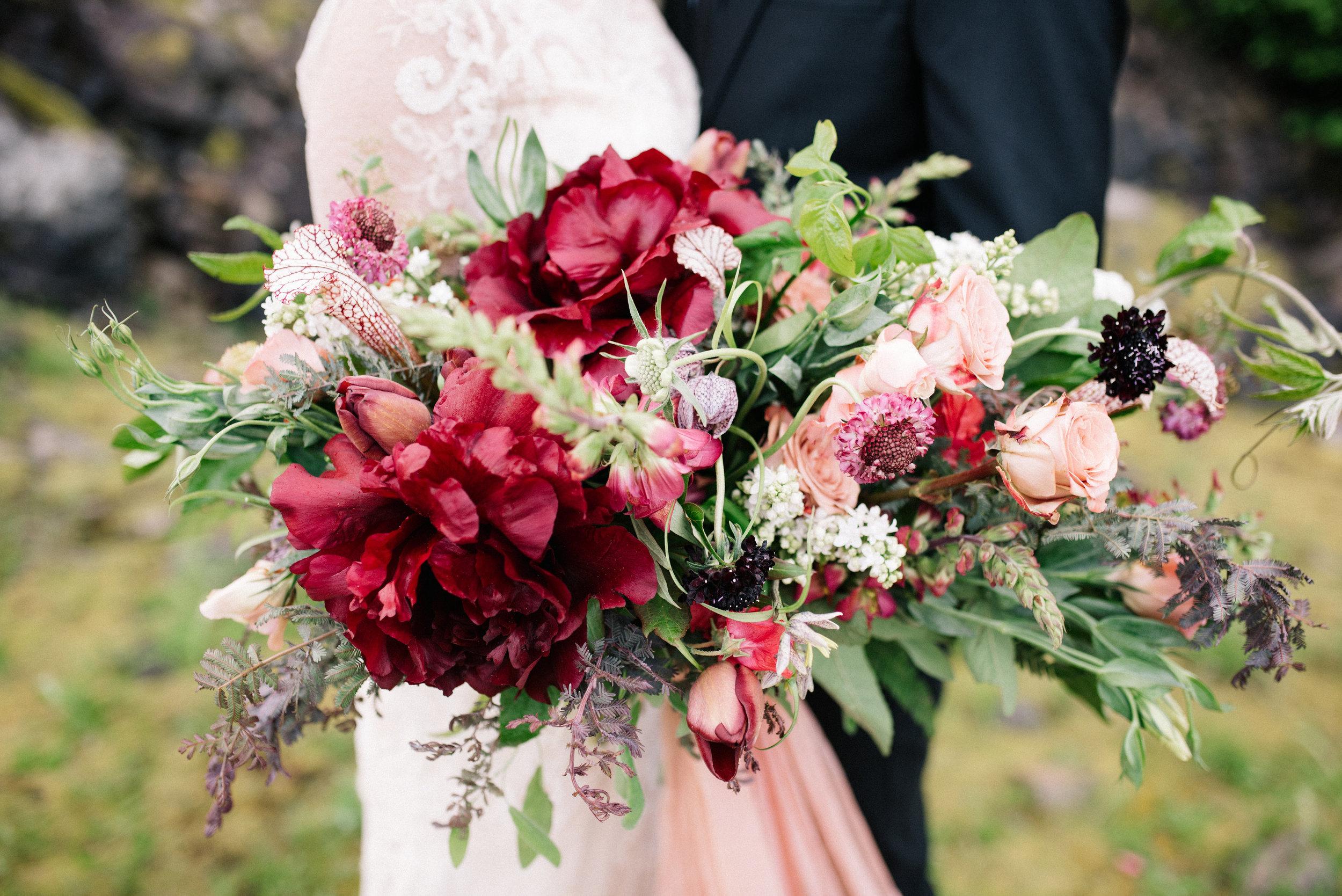 peonies in bridal bouquet