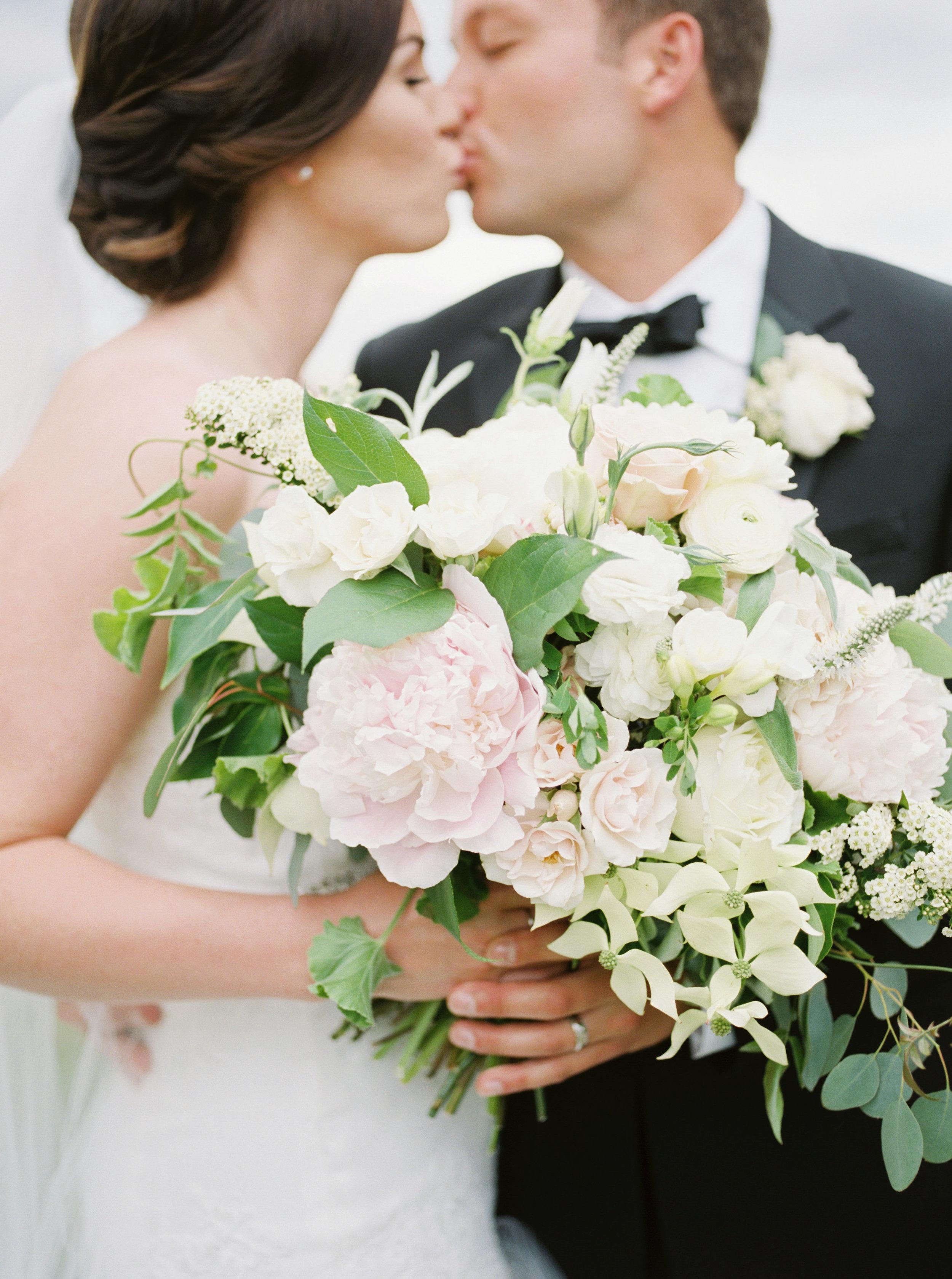 light blush flowers in a bouquet