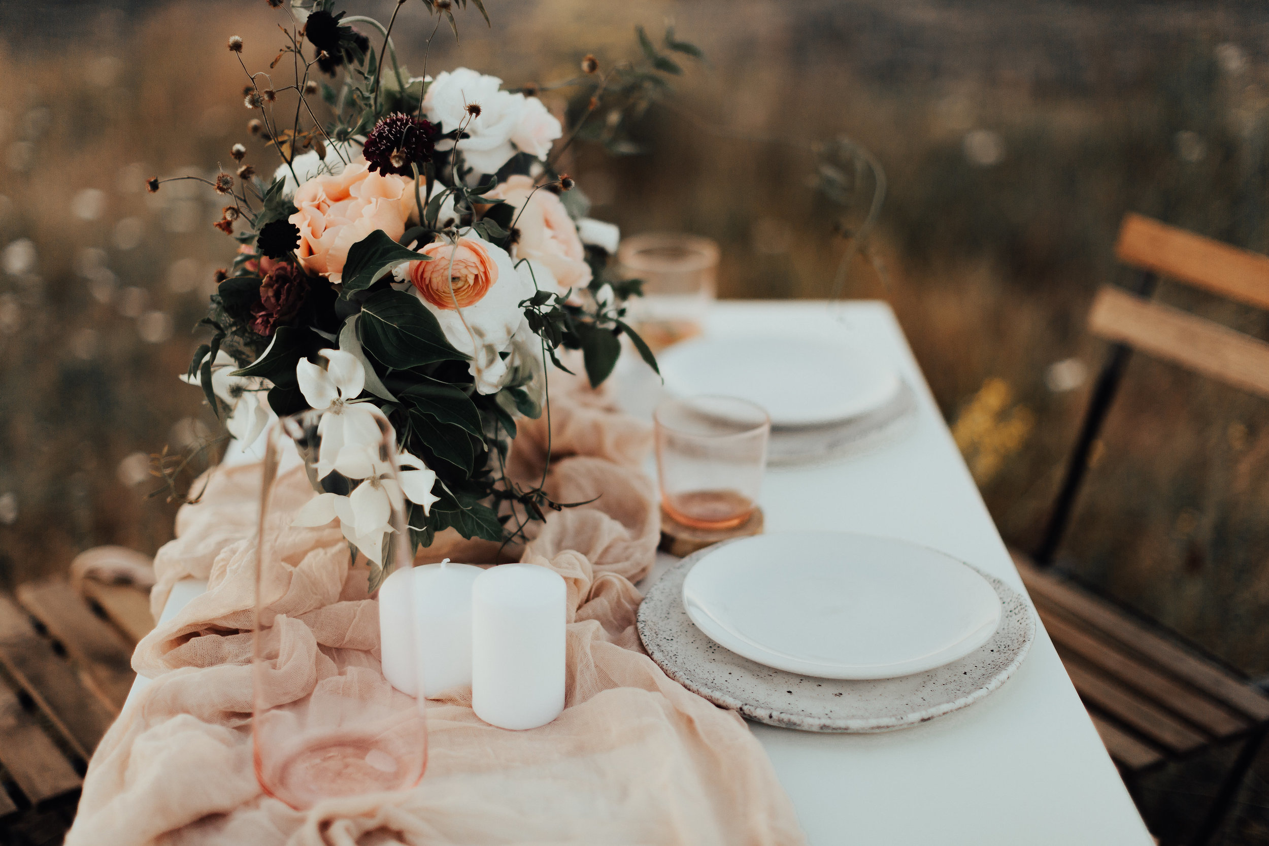 candles and table flowers