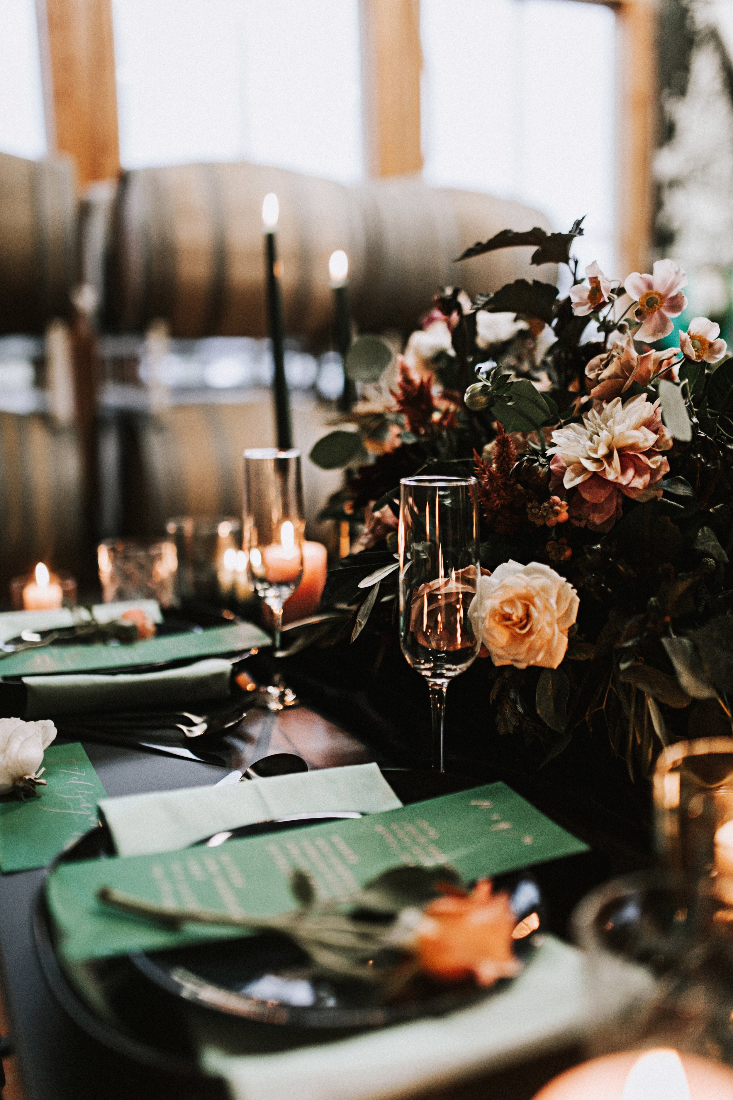 candles flowers and wine