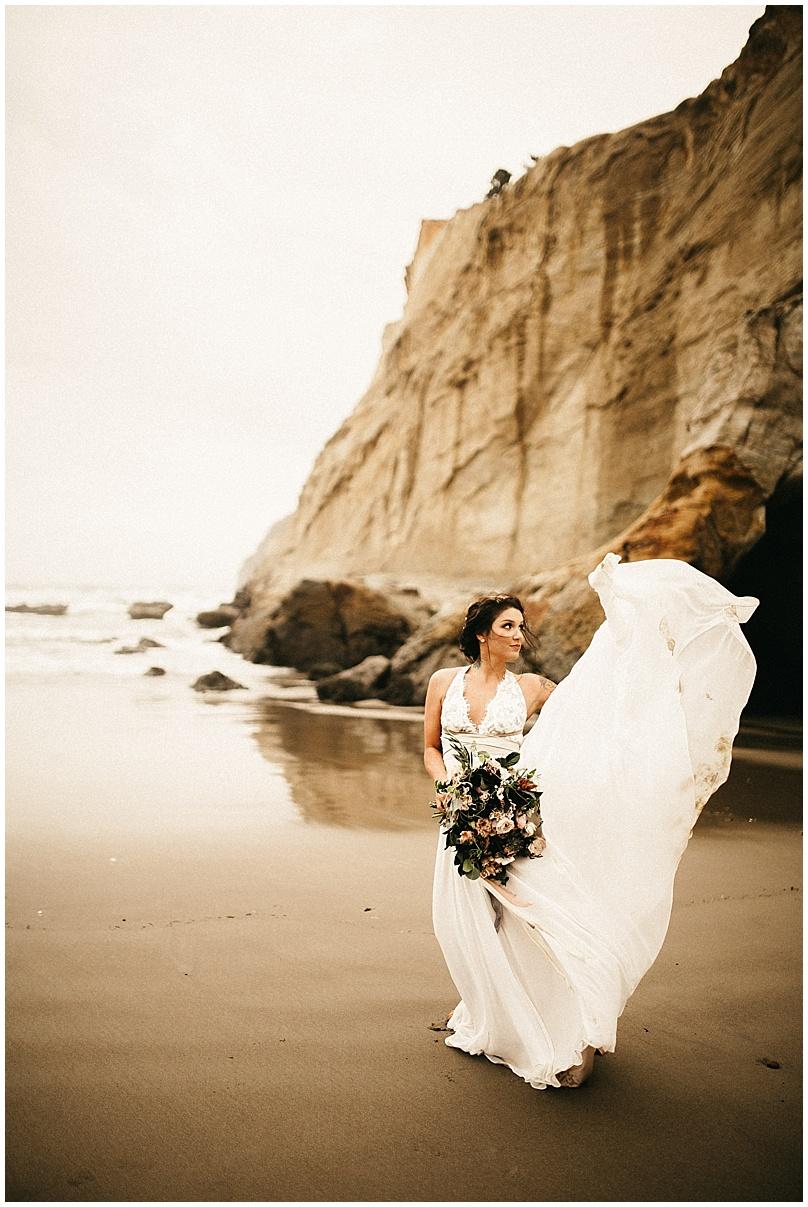 wedding dress with bridal bouquet