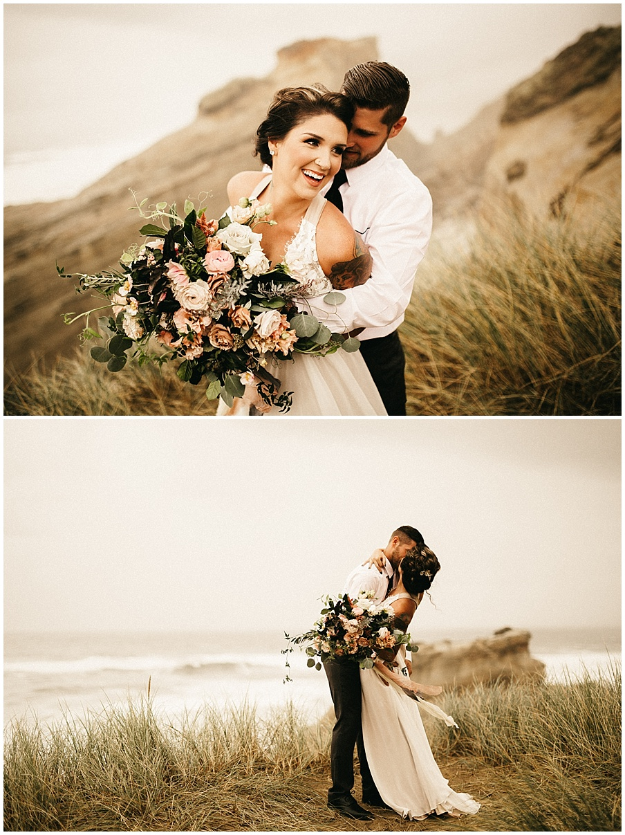 wife's bouquet on the Oregon beach