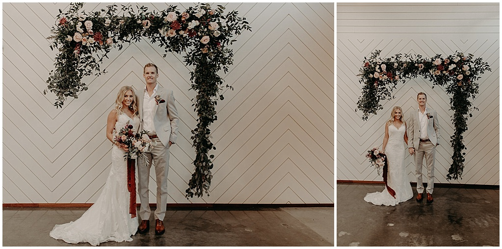 suspended asymetrical wedding arbor