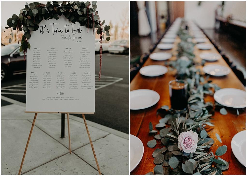 wedding seating chart garland