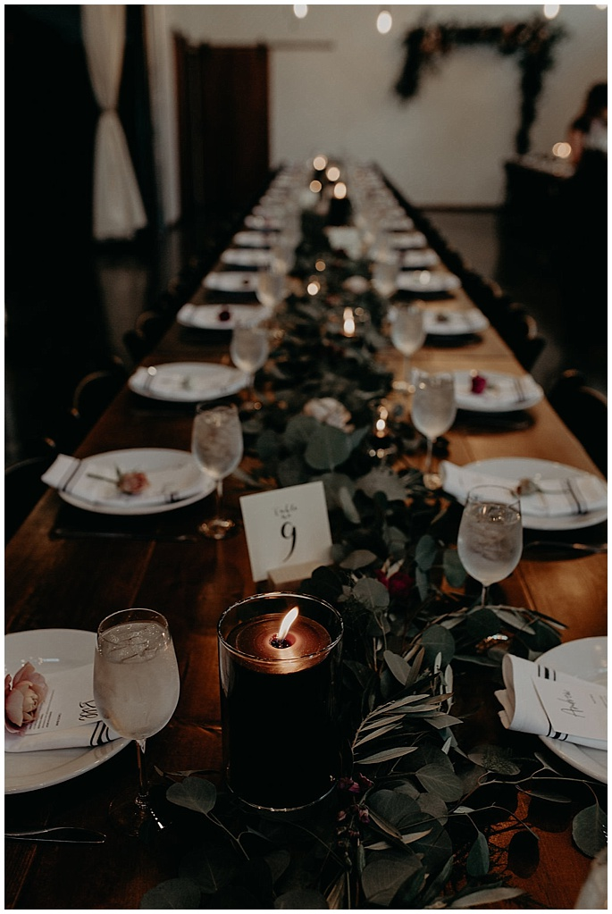 wedding reception table garland