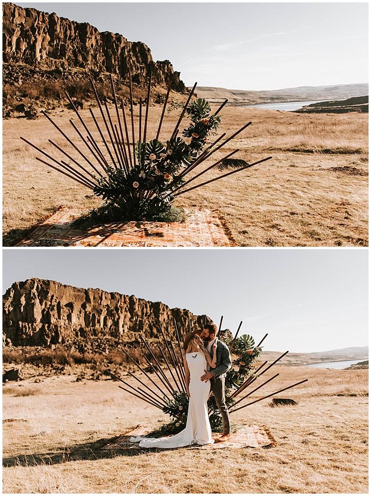 unique wedding arbor with flowers