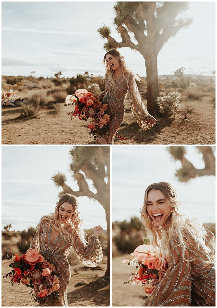 laughing bride in Joshua Tree