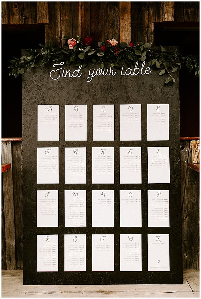 wedding seating chart floral garland