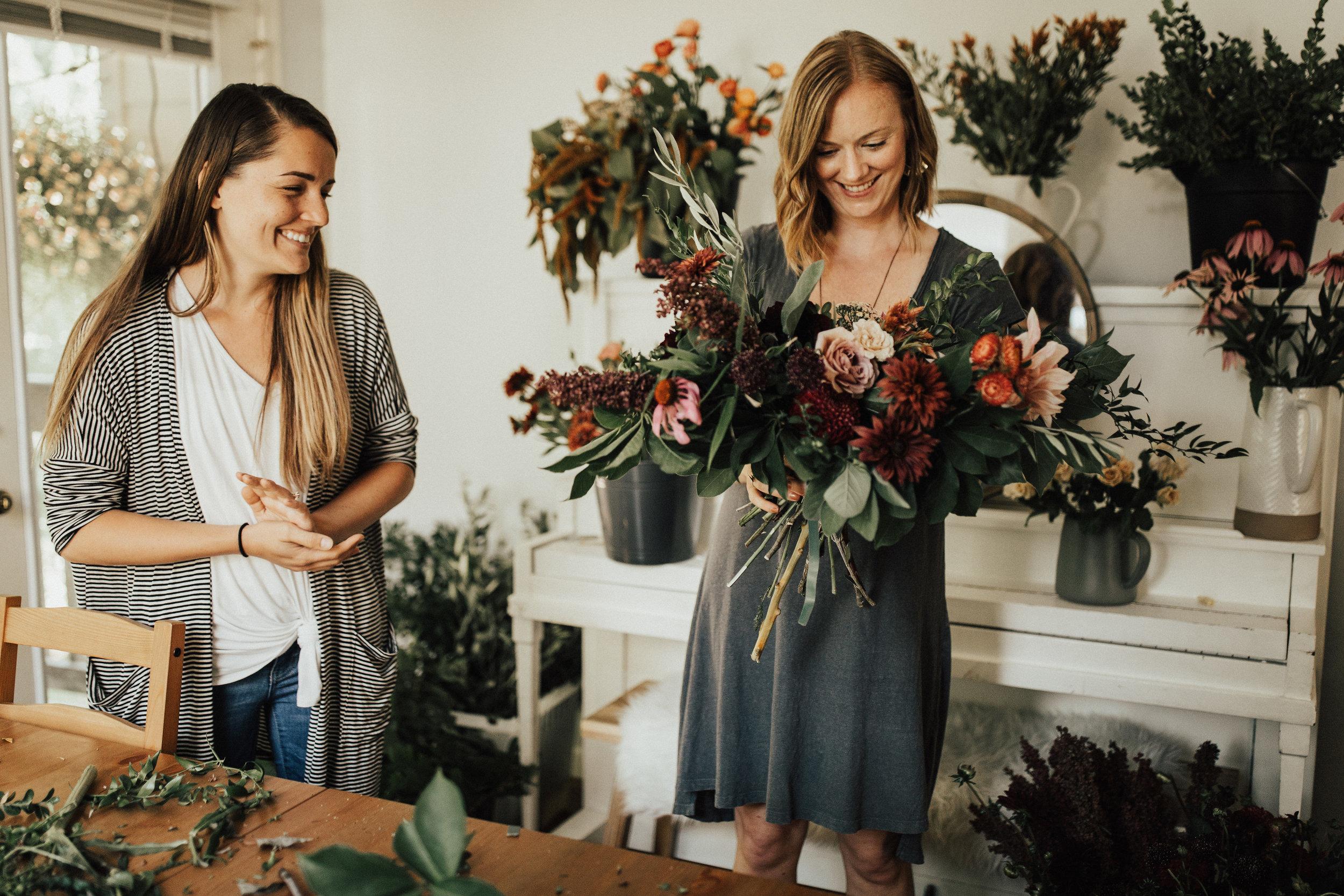 making a bridal bouquet