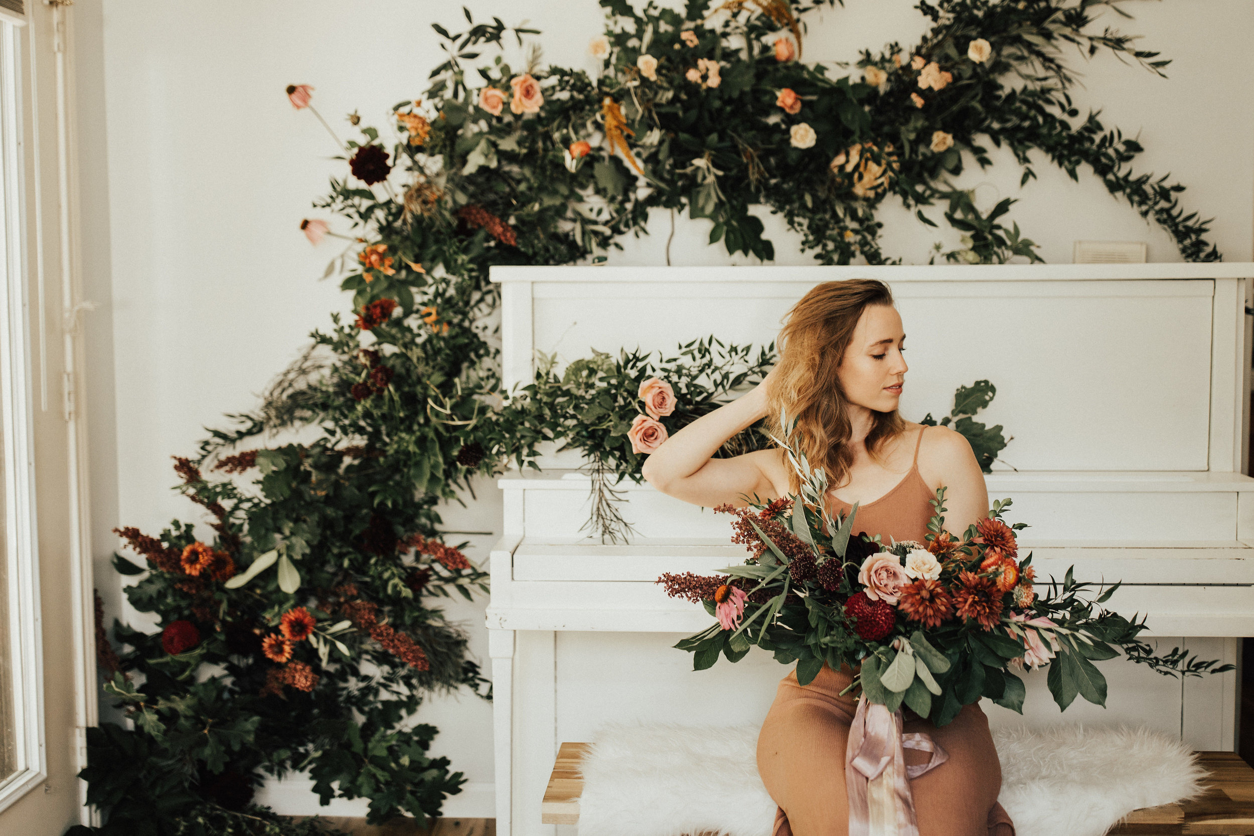 surrounded by flowers