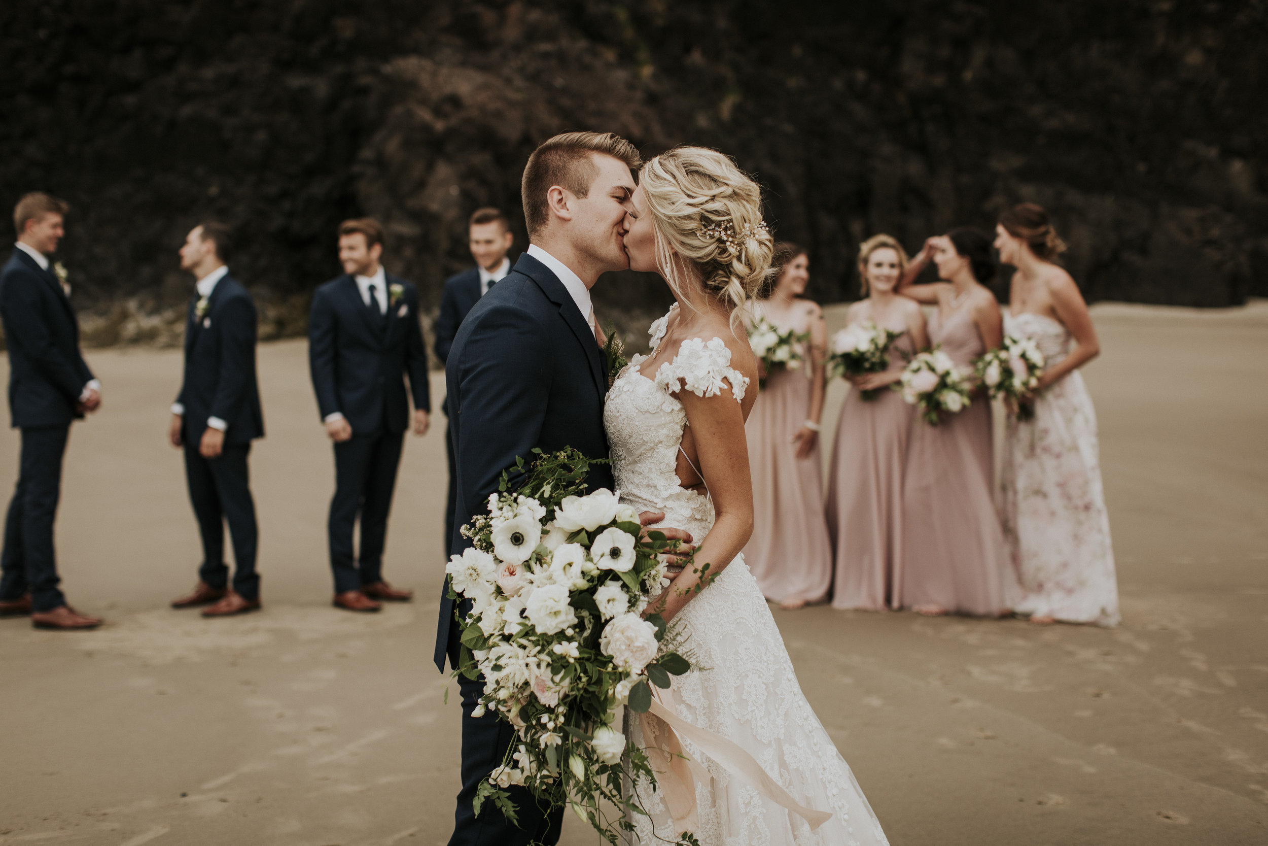 natural organic cascading bridal bouquet