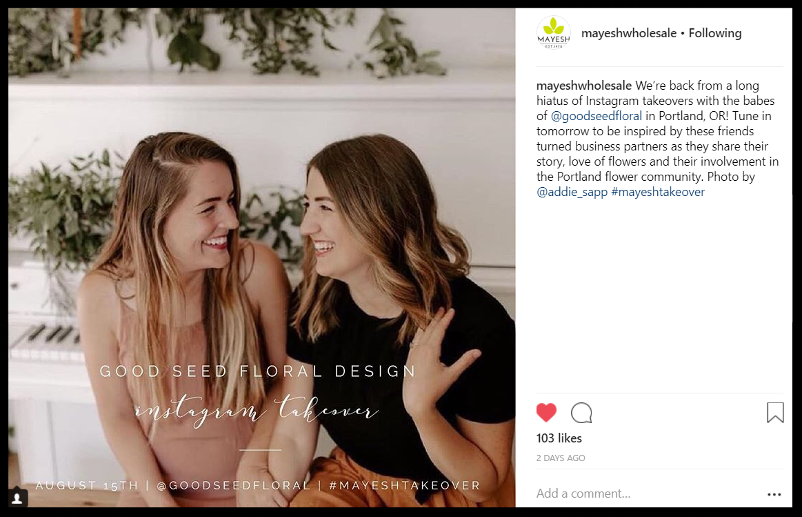 Portland Oregon Wedding florist instagram takeover with Mayesh
