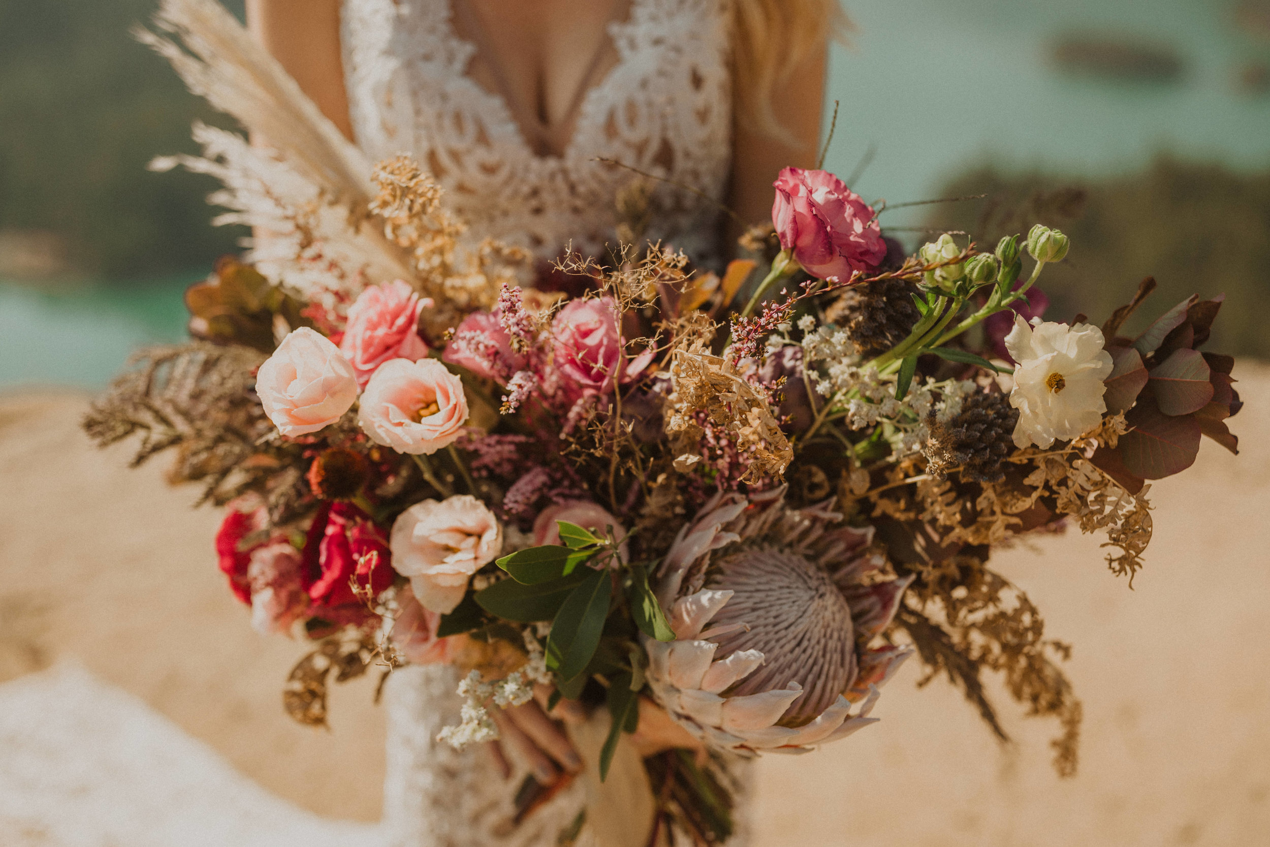 Boho bridal bouquet portland wedding florist