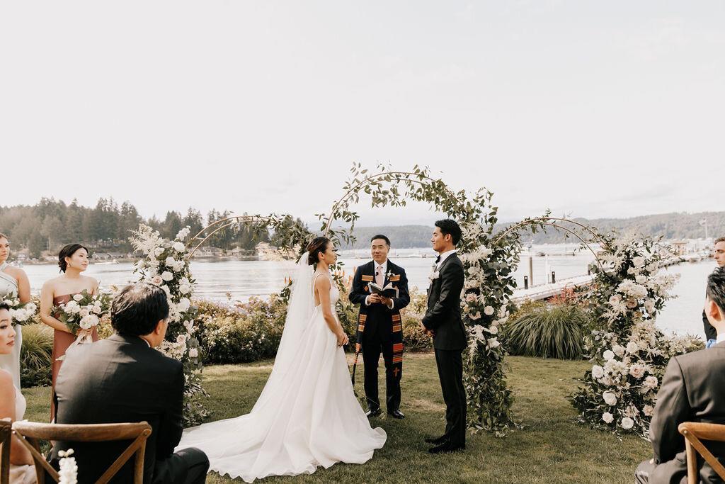 elegant, lush, romantic lakeside wedding highend