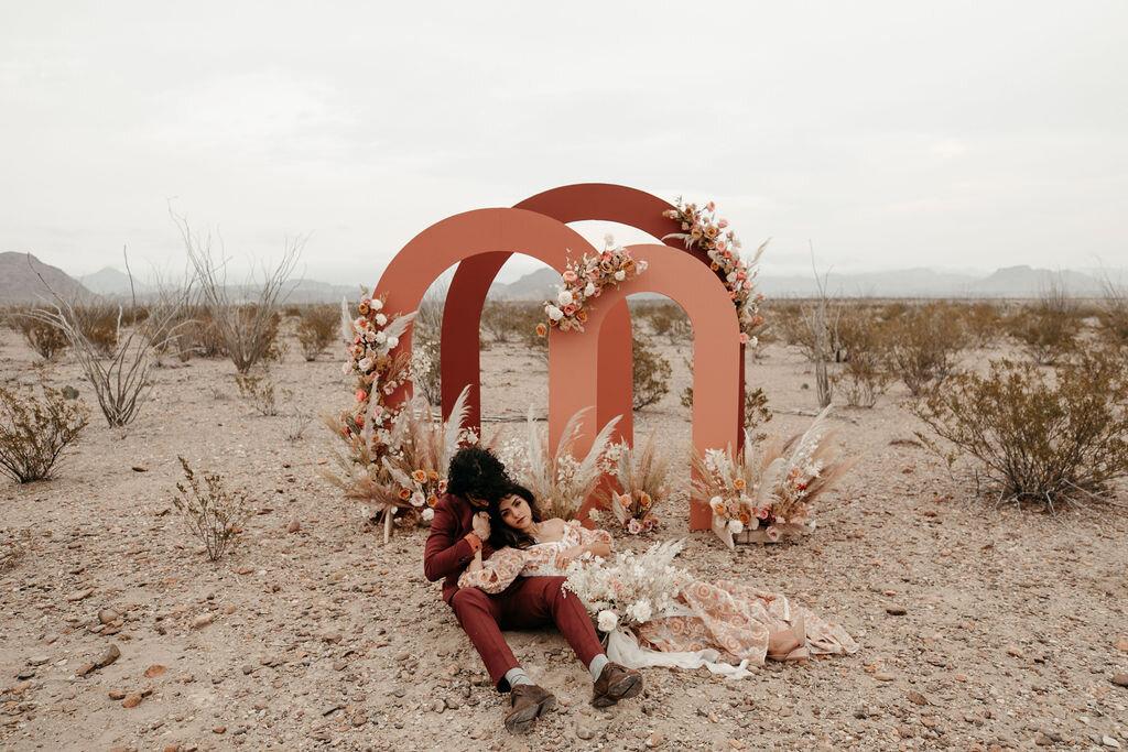 romantic, monochromatic, texas desert elopement