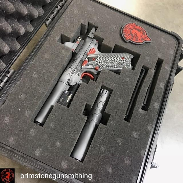 Check out this awesome custom Ruger that our partner gunsmith, Brimstone, put together! If you ever need any work done on your firearm, these are the guys for the job.  Regrann from @brimstonegunsmithing -  Custom Ruger Mark IV. Machined a custom Deltapoint mount, custom light mount, trigger kit, @tandemkross halo and other goodies, cerakoted the @silencerco Warlock 2 and the gun to match. Topped it off with a @pelicanprofessional case to keep it all safe.  #BestJobIveEverHad #CustomBuild #Ruger #Target #Hunting - #regrann