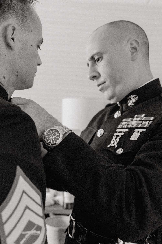 Groomsmen get ready for military wedding