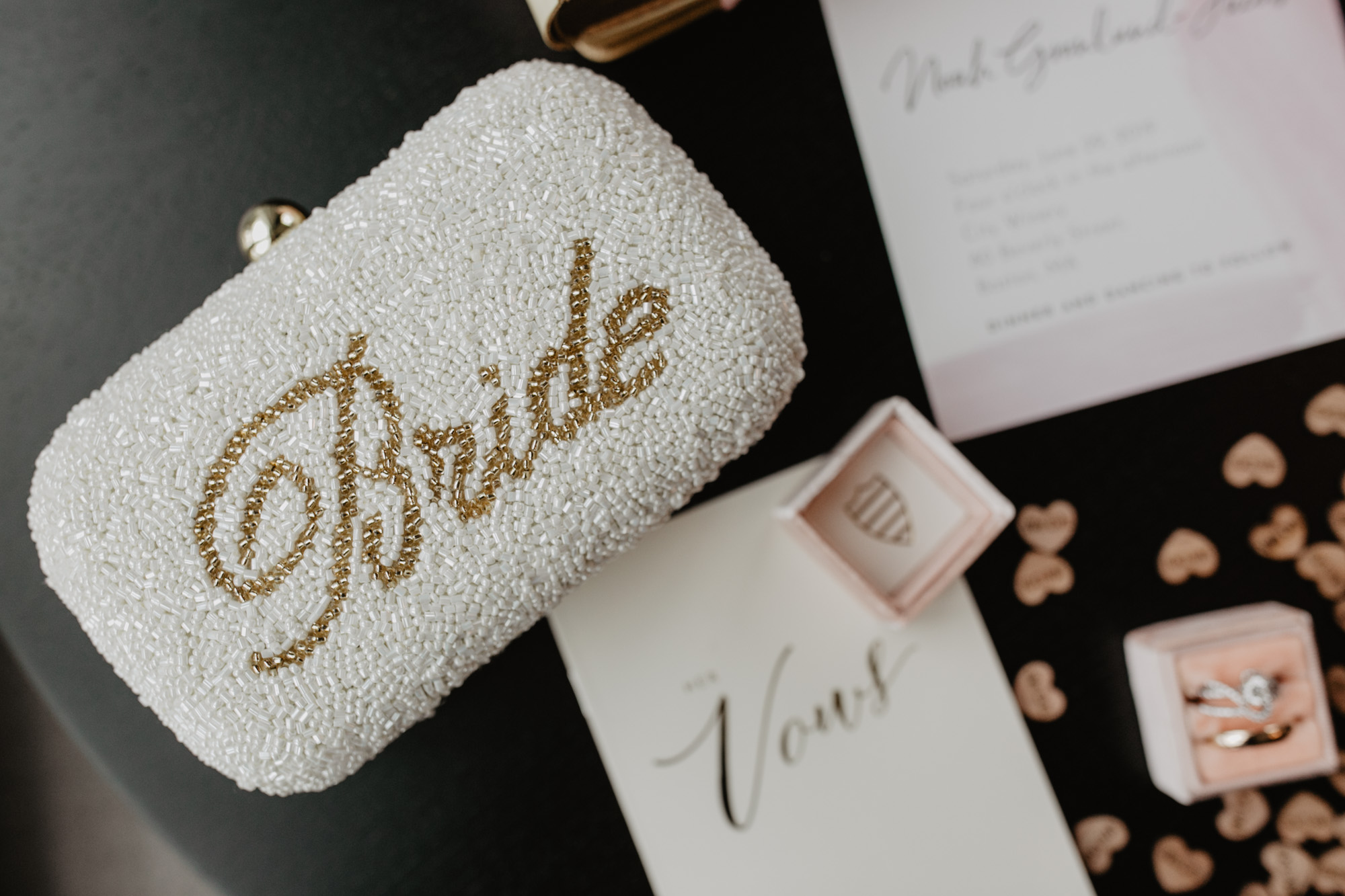 A bride's clutch on Boston hotel table