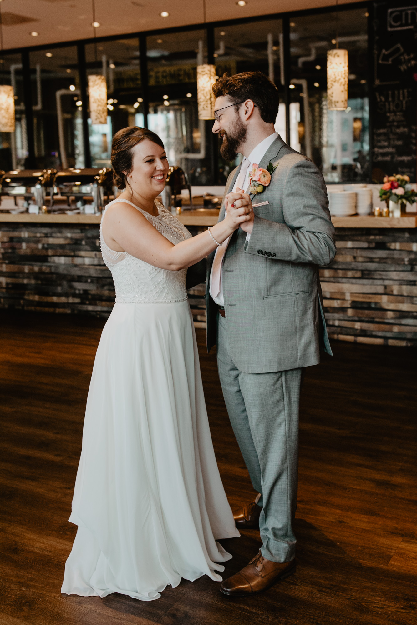 Bride and groom share their first dance at City Winery Boston
