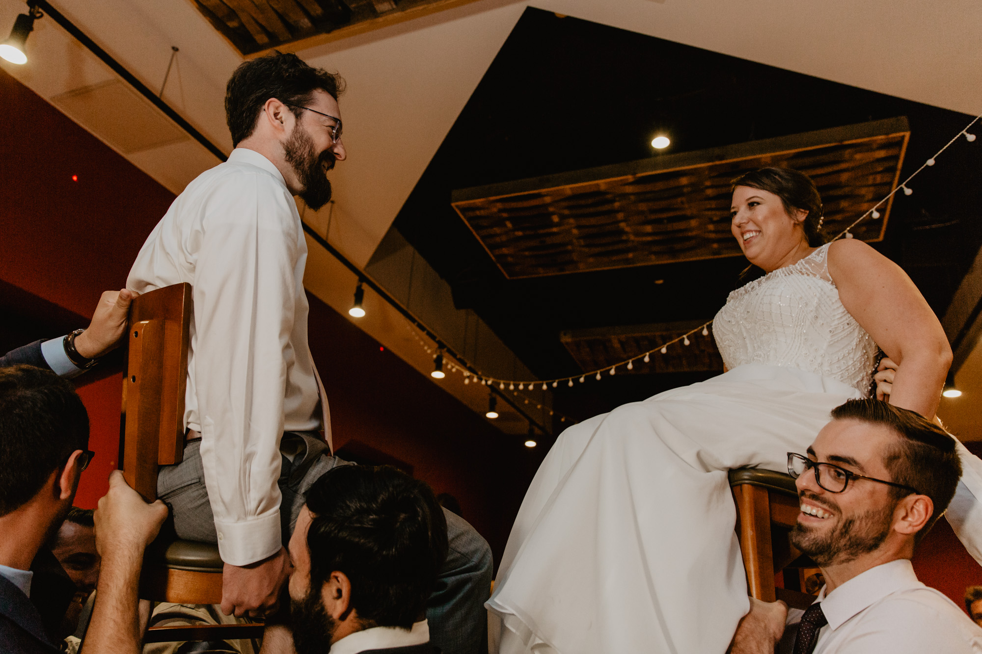 Bride and groom during the Hora at City Winery