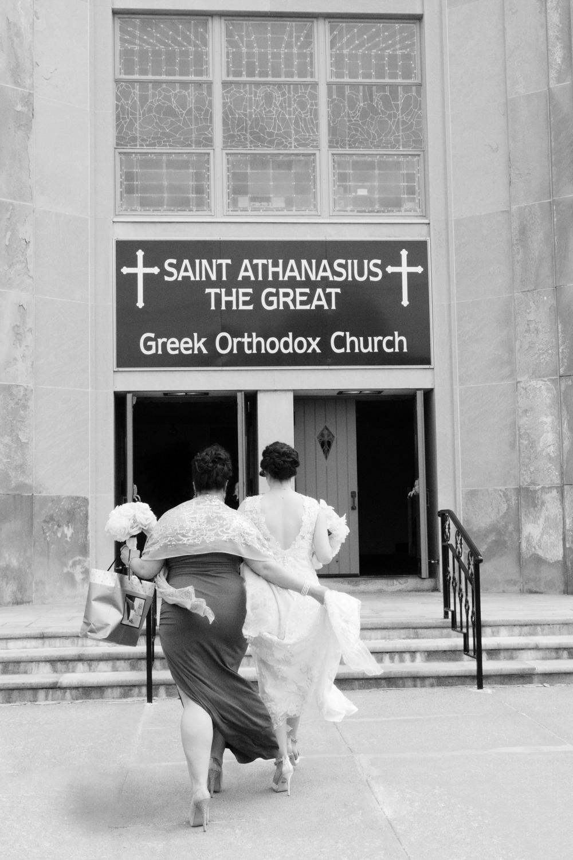 The bride arrives at greek wedding in Arlington MA