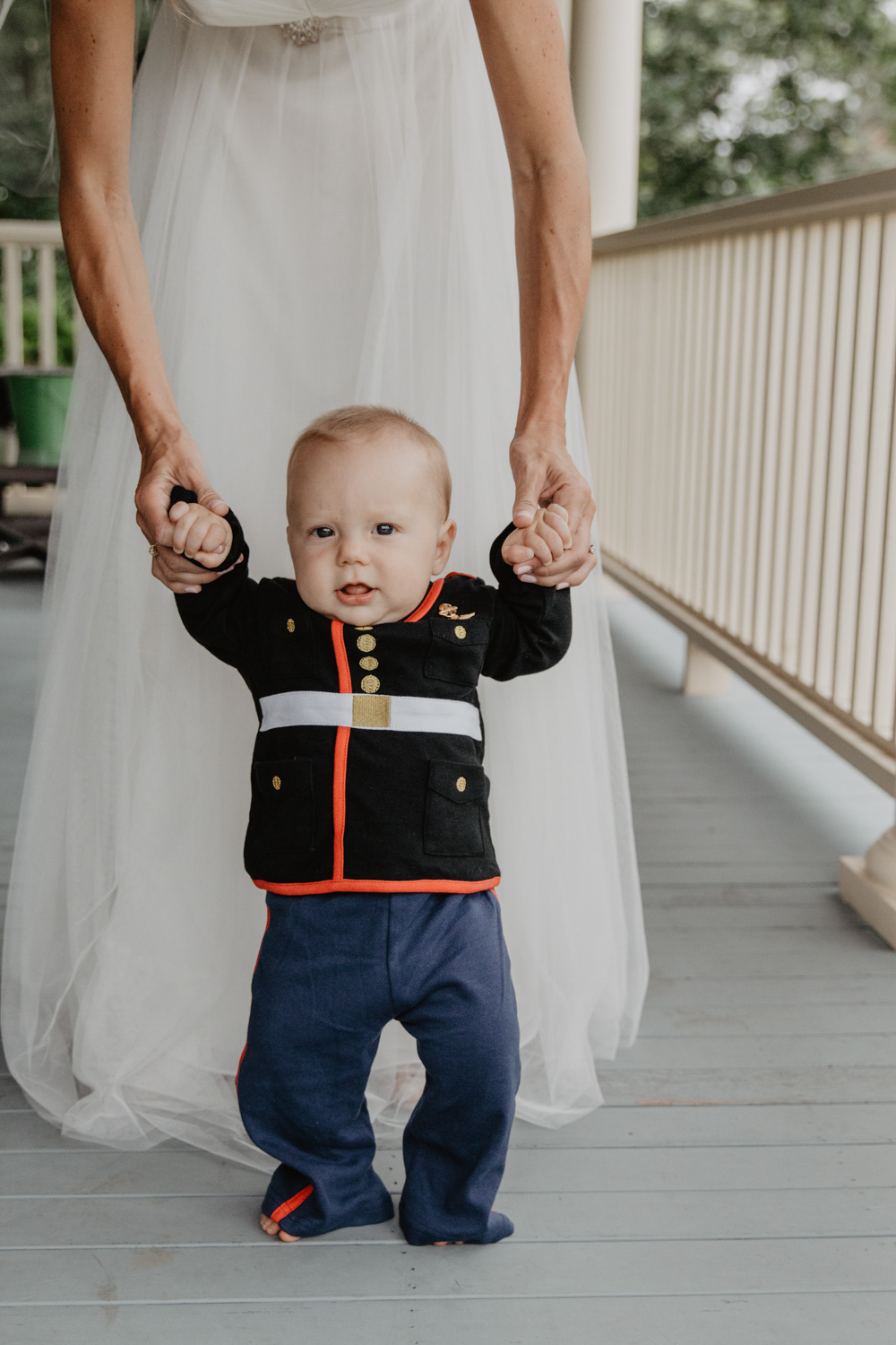 Baby dressed in Marine dress blues for his parents' wedding
