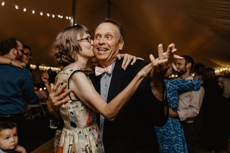 A couple slow dances at a NH farm wedding reception
