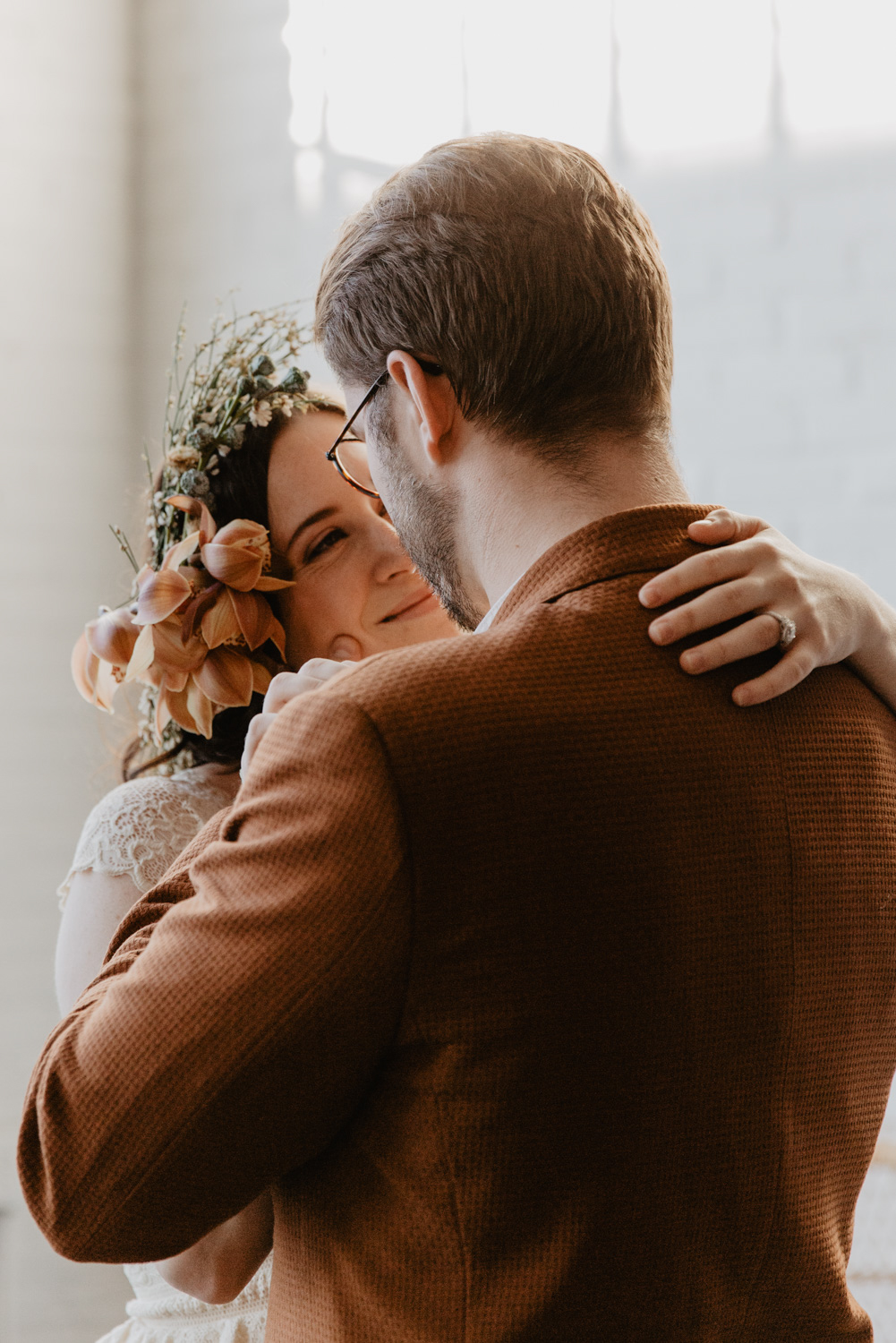 Boho bride and groom at Warehouse XI in Somerville MA